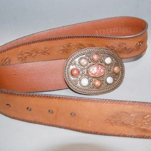 Fossil Leather Belt, Embellished Stones on Buckle